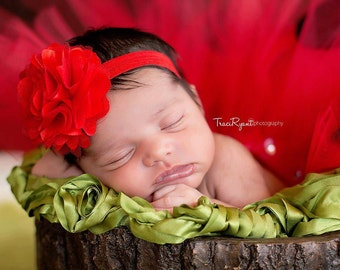 Large red satin mesh flower on red headband. Infant, toddler, child, adult sizes