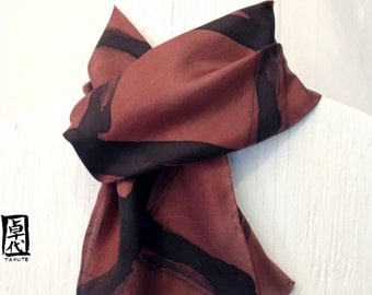 Mens Silk Scarf, Handpainted Scarf, Gifts for men, Brown and Black Square Zen, ETSY, Silk Scarves Takuyo, 8x54 inches