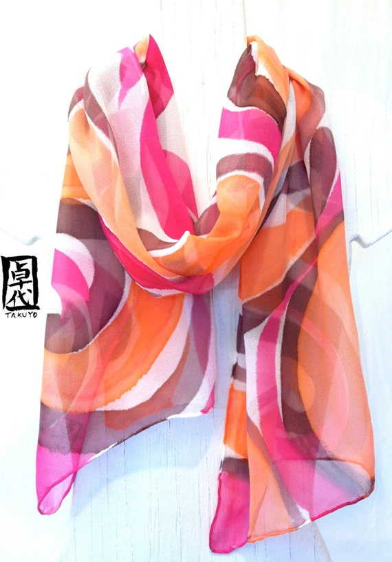 Large Silk Scarf Hand Painted. Mothers Day Gifts. Peach Pink MOD Swirl. Pink Silk Scarf. Silk Chiffon. Approx 13x68 in.