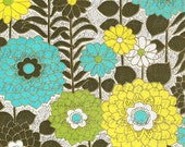 Mid Century Yellow, Aqua and Green Floral Flower Power Groovy Sixties Bkg - Digital image - Vintage Art Illustration - Instant Download