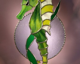 Stained Glass Suncatcher Seahorse Holding onto a Leaf  (352)