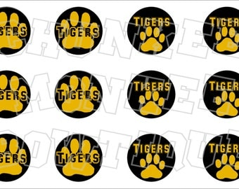 Tigers paw print with colored background bottlecap image sheet pawprint gold on black