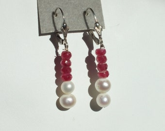 Rubies and pearls dangle earrings with sterling lever backs.