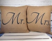 Burlap Mr and Mrs pillow covers handpainted in navy blue - Pillow Inserts Sold Separately