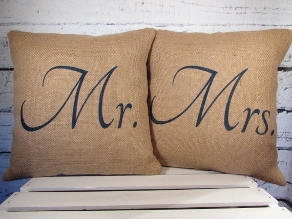 Mr and Mrs burlap pillows handpainted in navy blue