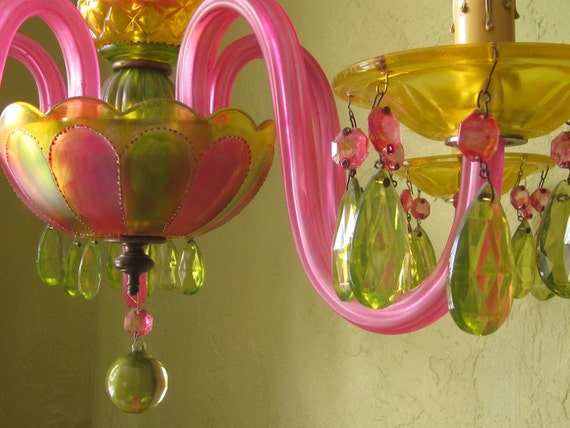 Gypsy Chandelier Lighting,  Antique Hand Painted Crystal and Glass, Featured in Romantic Homes Magazine, 50% off