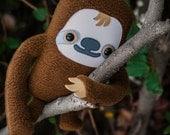 Sloth stuffed animal, Sloth plush doll, Cute sloth stuffy toy, Kawaii sloth stuffie, Tree sloth cuddle plushie, Adopt Flat Manny the Sloth