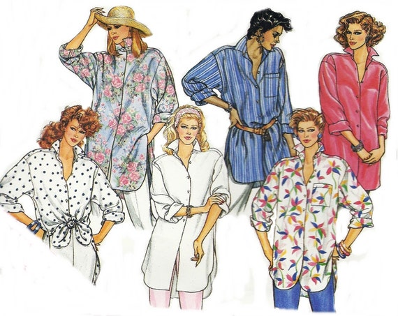 Vintage Sewing Pattern Butterick Shirt Pattern 3315 Dated 1986 Sewing Supplies Original Not a Repro