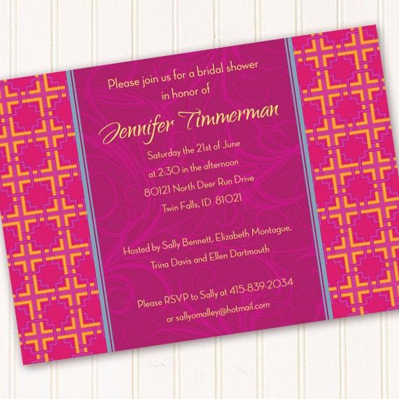bridal shower invitations, fuchsia and tangerine tango bridal shower invitations, bachelorette party invitations, hot pink bride, IN190