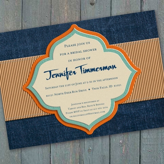 bridal shower invitations, aqua and denim bridal shower invitations, denim blue wedding invitations, navy retirement party invitations IN197