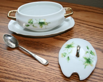 Condiment Dish, Royal Crown, Rogers AA Silver Spoon