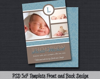 INSTANT DOWNLOAD - Birth Announcement Template (Boy BA 06) Photographer Template