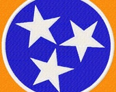 Tennessee Flag - Circle only - 2 choices - Machine Embroidery Design - 6 Sizes