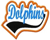 Dolphins with Swoosh - Applique - Satin Outline - Machine Embroidery Design - 11 sizes
