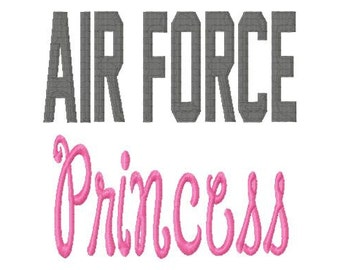 AIR FORCE Princess - Fill - Machine Embroidery Design - 8 Sizes