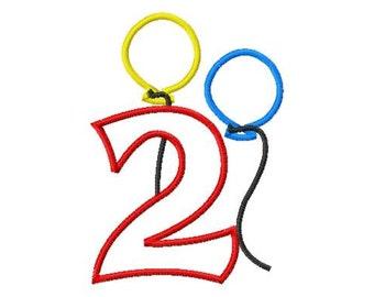 """Balloon NUMBER Set - Applique - Machine Embroidery Design - 4x4 Hoop, 5"""", 6"""", 5X7 Hoop"""