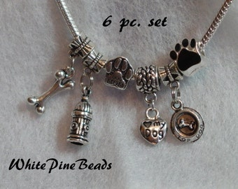 DOG LOVER  6 pc. Set Beads and Dangle Charms Metal Spacer Bead  Fits European Style Charm  Bracelets