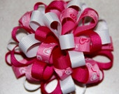 Pink White and Heart Loopy Puff Valentines Hair Bow