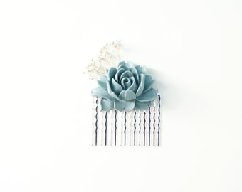 Romantic Bridal, Bridesmaid, and Flower Girl Hair Comb- Blue Peony