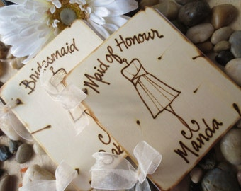 Gifts for Bridal Party Maid of Honor Bridesmaid SET of 2 Scrapbook Journal Personalized with her Dress and Name Thank you for being