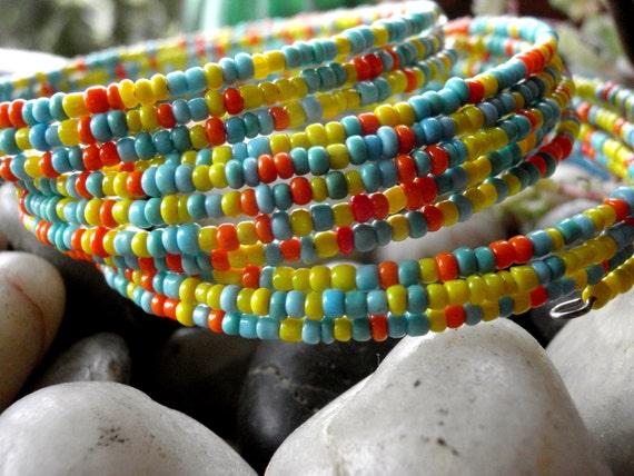 Southwestern Trio of Seed Bead Bracelets in Beautiful Colors..., Vintage Seed Beads repurposed into Bracelet...