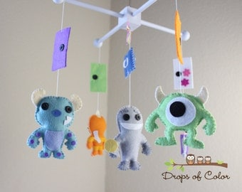 Baby Mobile, Baby Crib Mobile, Monsters Inc Mobile, Monsters and Doors, Boo, Sulley, Mike, Nursery Decor, Pixar Disney Movie