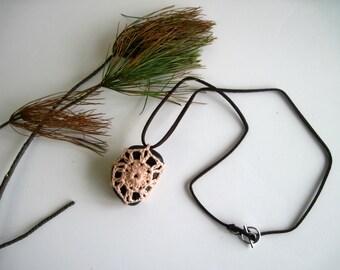 Crochet Lace Covered Stone Pendant Necklace - In Peach - Design 10