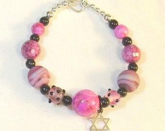 Hot Pink Lampwork Beaded Bracelet