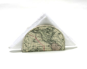 Antique Map Napkin holder,  Napkin Box, Hostess gift, Decoupage Napkin Box, Vintage World map, Cottage chic,  Country, ohtteam