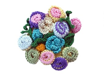 Crochet 3d flower brooch Purple,Blue,Yellow,Mustard Yellow,Light Blue,Pale pink,Green
