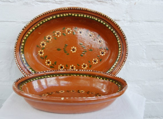 Vintage Mexican Nesting Platters Redware Pottery Serving Bowls