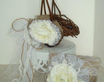 Flower girl basket and pillow set-burlap-princess basket-white ranunculas-vintage rustic wedding-barn wedding-