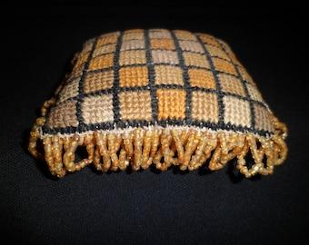 antique VICTORIAN pin cushion , Needle Point w Beaded tassels ,  Silk Back