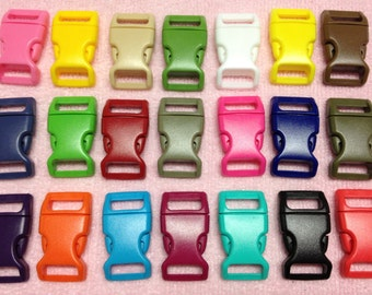 "30pc 5/8"" (16mm) Contoured Side-release Plastic Buckles Eco-Friendly - 21 Colors Available"