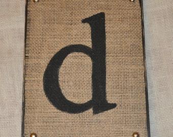 Burlap Letter d on Wood - 11x7