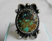 Antique Native American Style Ring Natural Gemstone Chrysocolla size 8