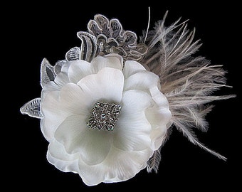Rachel - Bridal Soft White Flower Hair Clip Fascinator Clear Rhinestone-Ostrich feathers