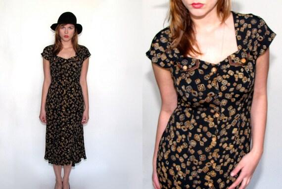 90s VIntage Womens Dress vintage dress vtg printed dress