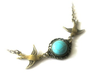Sparrow necklace turquoise jewelry antique brass bronze vintage style