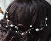 pearl hair vine - silver and ivory freshwater pearls bridal wedding Grecian hair garland