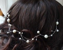 pearl hair vine - silver and ivory freshwater pearls bridal wedding Grecian hair garland