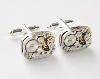 steampunk watch cuff links - oblong vintage watch mechanisms on silver bases