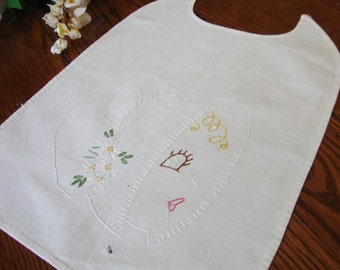 Baby Bib Hand  Embroidery Vintage