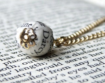 Mr Darcy Pride and Prejudice book page bead necklace, gold plated chain