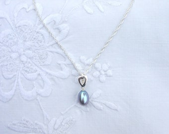Lavender Freshwater Pearl Silver Heart Necklace
