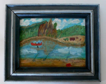 vintage painting on board folk art naive signed Virginia Ortiz from Diz has Neat Stuff
