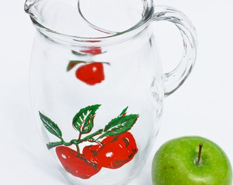 apple pitcher : vintage glass paint red green