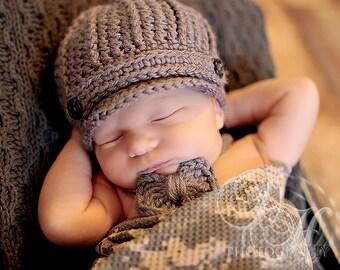 Newborn Boy Hat, Baby Bow Tie, Newborn Boy Photo Outfit, Newborn Photo Prop, Baby Newsboy Hat, Newborn Hat and Tie Set, Photography Props