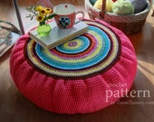 Crochet Pattern  - Colorful Crochet Floor Cushion (Pattern No. 051) - INSTANT DIGITAL DOWNLOAD