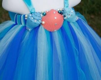 Flower girl dress. Under the Sea Tutu Dress with Coral seashell . baby tutu dress, toddler tutu dress, wedding, birthday,
